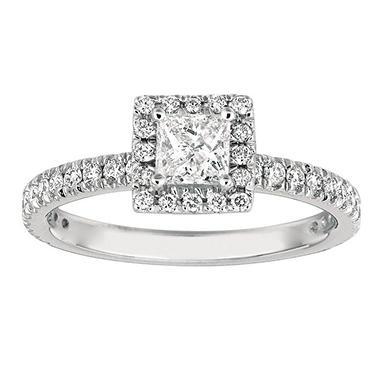 1.00 CT. TW. Princess-Cut Diamond Halo Ring 14K White Gold (I, I1)
