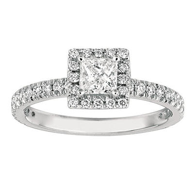 1.00 CT. TW. Princess-Cut Diamond Halo Ring 14K White Gold (I, I1)