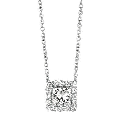 .50 CT. TW. Princess-Cut Diamond Halo Pendant 14K White Gold (I, I1)