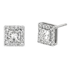 .50 CT. TW. Princess-Cut Diamond Halo Earrings 14K White Gold (I, I1)