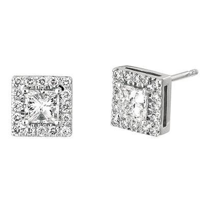 .50 CT. TW. Princess-Cut Diamond Halo Earrings 14K White Gold (I, I1)