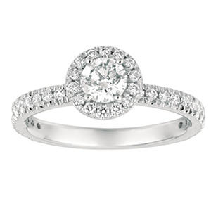 1.00 CT. TW. Round-Cut Diamond Halo Ring 14K White Gold (I, I1)