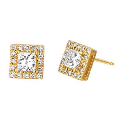 1.00 CT. TW. Princess-Cut Diamond Halo Earrings 14K Yellow Gold (I, I1)
