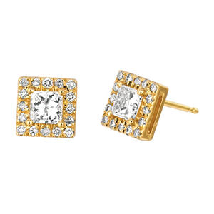 1.00 CT. TW. Princess-Cut Diamond Halo Earrings 14K Yellow Gold (I, I1)