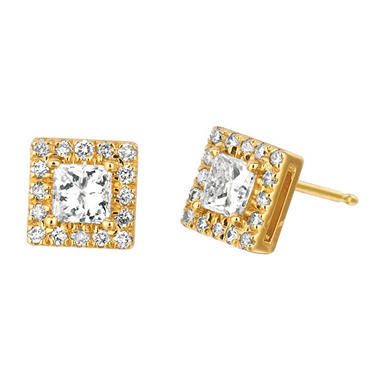 .50 CT. TW. Princess-Cut Diamond Halo Earrings 14K Yellow Gold (I, I1)
