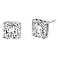 1.00 CT. TW. Princess-Cut Diamond Halo Earrings 14K White Gold (I, I1)