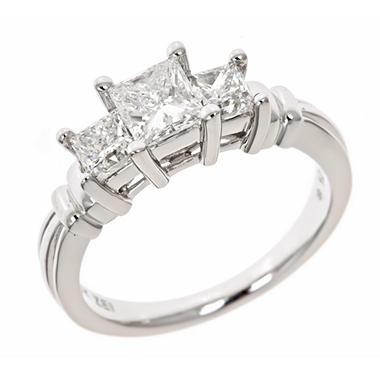 1.45 CT.T.W. Princess Diamond Engagement Ring in 14K White Gold (H-I, I1)