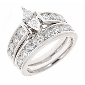 2.95 CT.T.W. Marquise and Round Diamond Engagement Ring Set in 14K White Gold (H-I, I1)