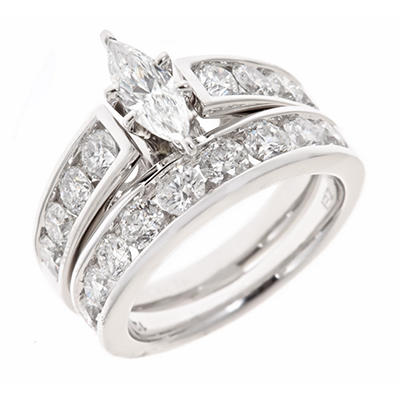 2.95 CT.T.W. Marquise and Round Diamond Bridal Ring Set in 14K White Gold (H-I, I1)