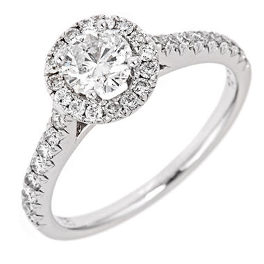 0.96 CT.T.W. Round Framed Diamond Ring in 14K White Gold (H-I, I1)