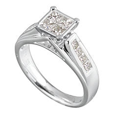 0.96 CT.T.W. Princess Quad Diamond Ring in 14K White Gold (I, I1)