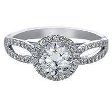 Premier Diamond Collection 1.38 CT. T.W. Round Brilliant Diamond Halo Engagement Ring in 18K White Gold - GIA & IGI (G, I1)