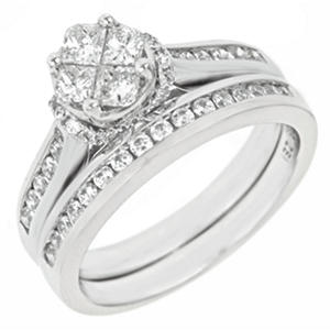 0.90 CT.T.W. Seri Diamond Ring Set in 14K White Gold (H-I, I1)