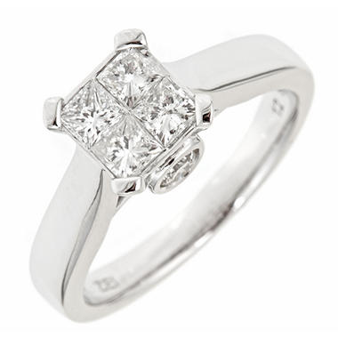 0.96 CT.T.W. Princess Diamond Engagement Ring in 14K White Gold (H-I, I1)