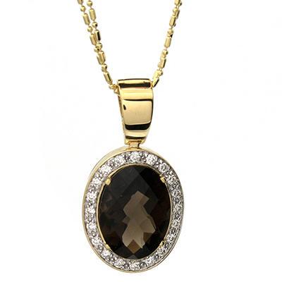 6.80 t.w. Smoky Quartz and 0.38 t.w. Diamond Medallion Pendant