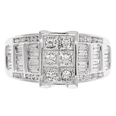 1.95 CT.T.W. Princess, Round & Baguette Cut Diamond Bridal Ring Set in 14K White Gold (I, I1)