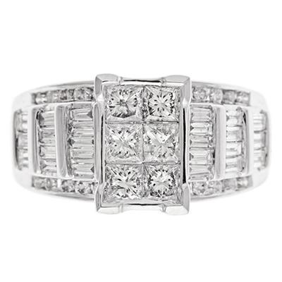 2.00 CT.T.W. Princess, Round & Baguette Cut Diamond Bridal Ring Set in 14K White Gold (I, I1)