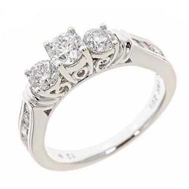 1.45 ct. t.w. Round Diamond Bridal Ring in 14K White Gold (H-I, I1)