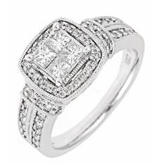 0.96 CT.T.W. Invisible-Set Princess Diamond Ring in 14K White Gold (H-I, I1)