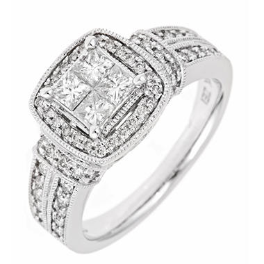 0.96 CT.T.W. Invisible-Set Princess Diamond Ring in 14K White Gold (H-I, I1)