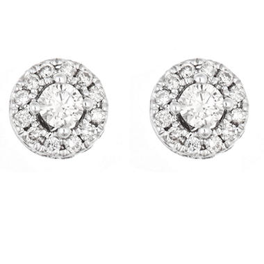 0.47 CT.T.W. Round Framed Diamond Earrings in 14K White Gold (H-I, I1)