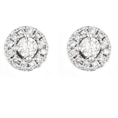 0.47 CT.T.W. Round Framed Diamond Earrings in 14K White Gold (H-I, I1)