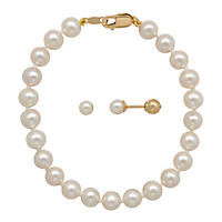 Children's Pearl Bracelet & Stud Set