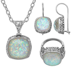 Sterling Silver Snowy White Quartz 3-Piece Set