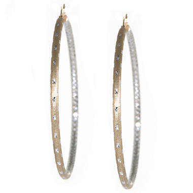 Sterling Silver and 24K Gold Over Silver 65 mm Diamond Cut Hoop Earrings