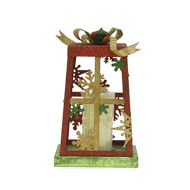 Metal Present Candle Holder / Stocking Holder - Red w/ Snowflakes