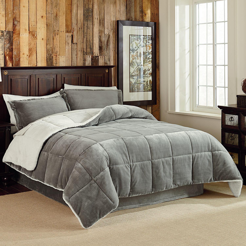 Velvet plush 3 piece reversible comforter set king for Grey velvet comforter