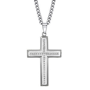 "Men's Pendant with .11 ct. t.w. Diamonds and 24"" Curb LInk Chain in Stainless Steel"