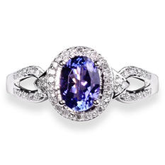 Tanzanite and .23 ct. t.w. Diamond Ring in 14K White Gold