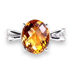Citrine and .03 ct. t.w. Diamond Ring in 925 Sterling Silver