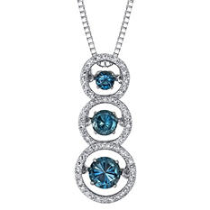 "3 Stone London Blue Topaz and .18 ct. t.w. Diamond ""Motion"" Pendant in Sterling Silver"