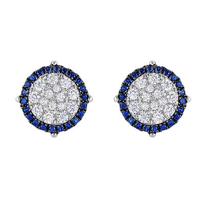 0.95 CT. TW. Diamond & Sapphire Earrings in 14K White Gold (HI,I1)