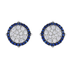 0.95 CT. TW. Diamond & Sapphire Earrings in 14K White Gold (IGI Appraisal Value: $1,345)