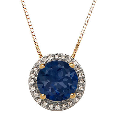 7 mm Created Blue Sapphire and Diamond Accent Pendant in 14K Yellow Gold