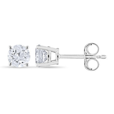 0.72 ct. t.w. Round Diamond Stud Earrings in 14k White Gold (H-I, SI2)