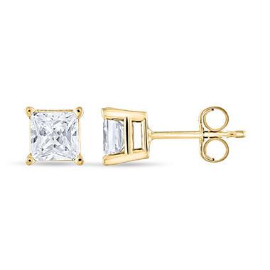 0.96 ct. t.w. Princess Diamond Stud Earrings in 14k Yellow Gold (I, I1)