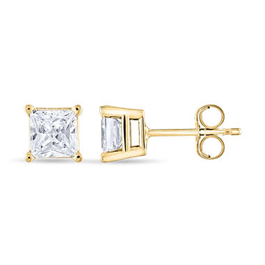 0.96 ct. t.w. Princess Diamond Stud Earrings in 14k Yellow Gold (I, I1)
