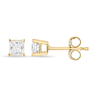 0.47 ct. t.w. Princess Diamond Stud Earrings in 14k Yellow Gold (I, I1)