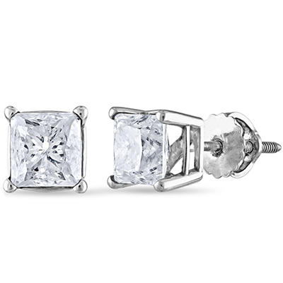 1.95 ct. t.w. Princess Diamond Stud Earrings in 14k White Gold (I, I1)