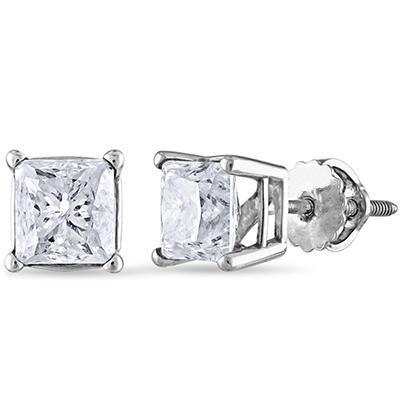1.95 ct. t.w. Princess Diamond Stud Earrings in 14k White Gold (I, I1)