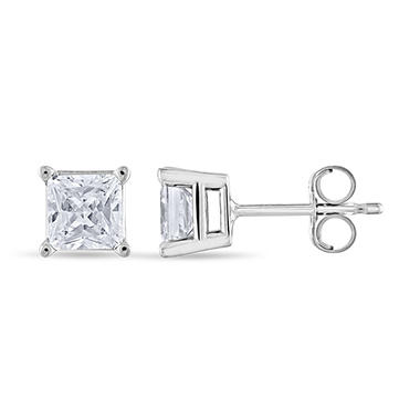 0.96 ct. t.w. Princess Diamond Stud Earrings in 14k White Gold (I, I1)