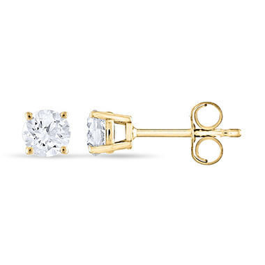 0.47 ct. t.w. Round Diamond Stud Earrings in 14k Yellow Gold (I, I1)