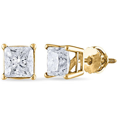 1.95 ct. t.w. Princess Diamond Stud Earrings in 14k Yellow Gold (I, I1)