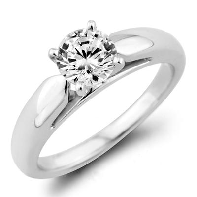 0.31 ct. Round Diamond Solitaire Ring in 14k White Gold (F, I1)