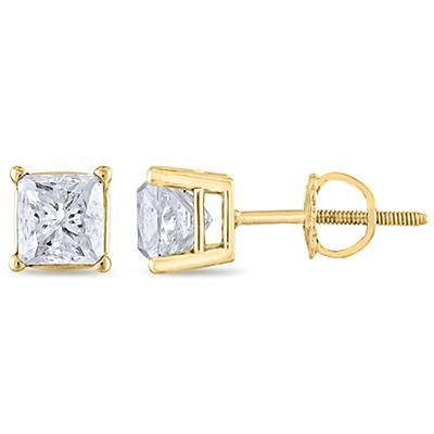 1.45 ct. t.w. Princess Diamond Stud Earrings in 14k Yellow Gold (H-I, SI2)