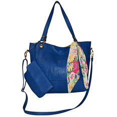 Fashion Tote with Detachable Wristlet & Printed Scarf by NYC Perlina